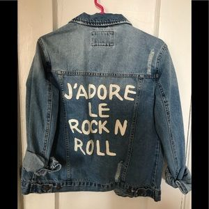 Forever 21 Distressed Jean Denim Jacket Small